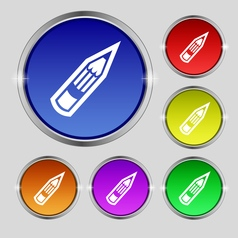 Pencil icon sign round symbol on bright colourful vector