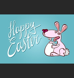 Happy easter typographical background with bunny vector