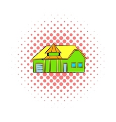 Green cottage icon comics style vector