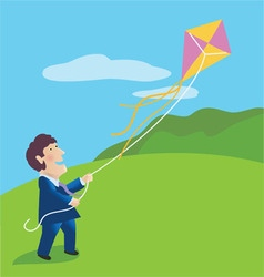 Businessman flying a kite vector