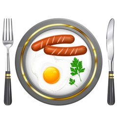 Tableware egg sausage parsley vector