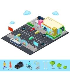 Isometric city supermarket building vector