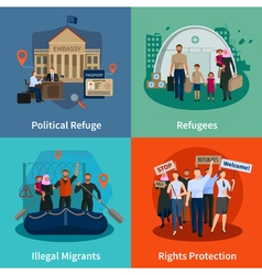 Stateless refugees 2x2 design concept vector