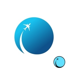 Airplane with sky round logo Jet plane and trail vector image