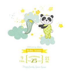 Baby shower card - baby panda catching stars vector