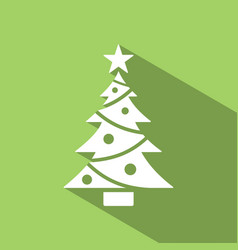 christmas tree icon with star and shade color vector image vector image