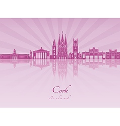 Cork skyline in purple radiant orchid vector