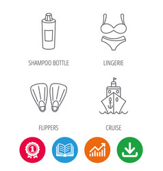 Cruise swimming flippers and lingerie icons vector