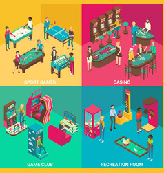 Game rooms flat 3d isometric vector