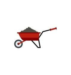 Garden wheelbarrow with earth icon flat style vector image vector image