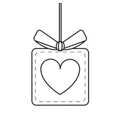 gift box heart love present hang line vector image