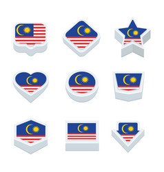 Malaysia flags icons and button set nine styles vector