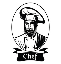 Monochrome with chef in frame vector
