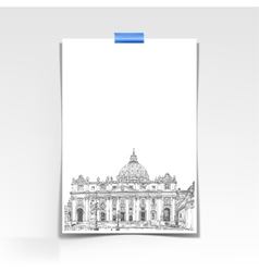 Paper sheet with a picture of st peters cathedral vector
