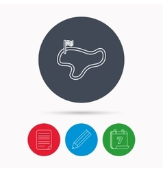 Race track or lap icon Finish flag sign vector image