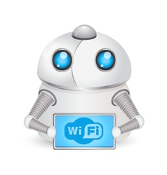 Robot and symbol Wi-Fi vector image vector image