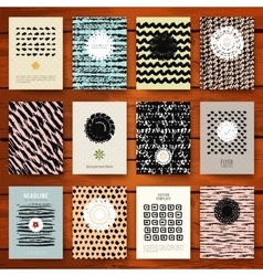 Set of grunge vintage cards with black hand drawn vector image vector image