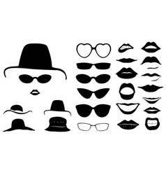 Set of women faces with hats vector