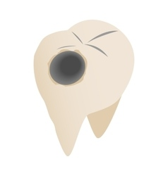 Teeth with caries icon isometric 3d style vector