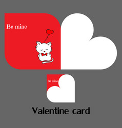 valentine card with cat vector image vector image