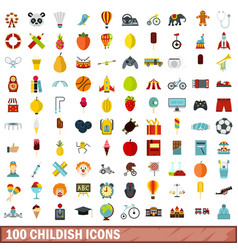 100 childish icons set flat style vector