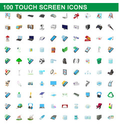 100 touch screen icons set cartoon style vector image
