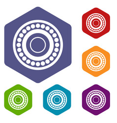 Bearing icons set hexagon vector