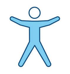Blue line pictogram man silhouette doing exercise vector