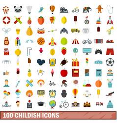 100 childish icons set flat style vector