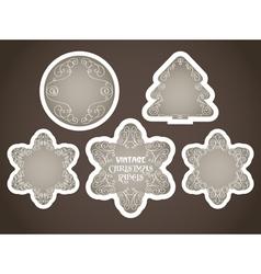 vintage christmas labels set vector image