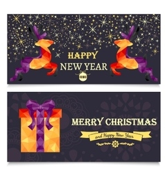 2 christmas banners with geometric deer gift box vector