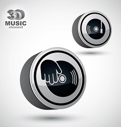 Vinyl with dj hand icon isolated 3d design elemen vector