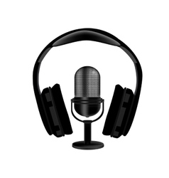 Microphone and headphones vector