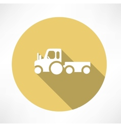 Tractor with trailer icon vector