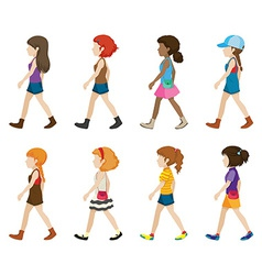 Teenagers without faces walking vector