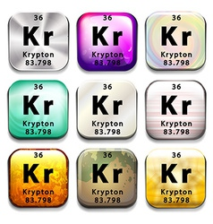 A periodic table showing krypton vector