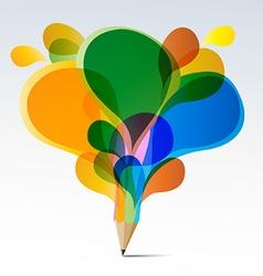 Creative splash pencil with colorful speech vector