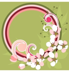 Frame with blossoming branches vector