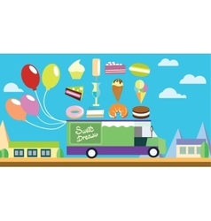 Holiday flat art wagon with ice-cream and sweets vector