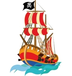 Funny pirate ship vector