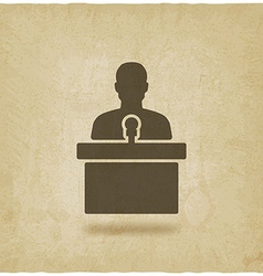Man on podium with microphone old background vector