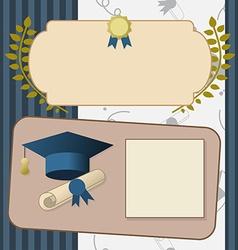 Gold graduation invitation vintage certificate vector