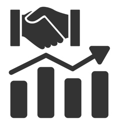 Acquisition hands graph trend flat icon vector