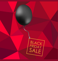 Black balloon on red polygonal background with vector