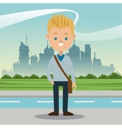 Boy blond blue eyes student urban background vector