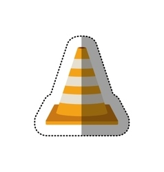 Dotted sticker striped traffic cone vector