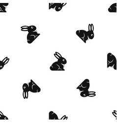 Easter bunny pattern seamless black vector