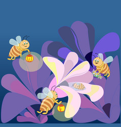 Family bees fly to the flower where sleeps vector