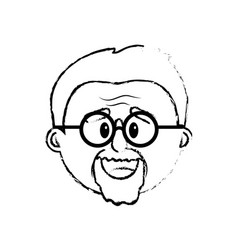 Figure old man face with hairstyle vector
