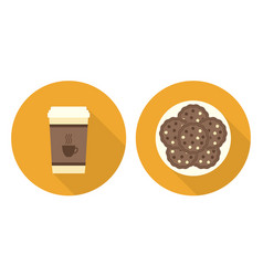 flat cup of coffee plate with cookies vector image vector image